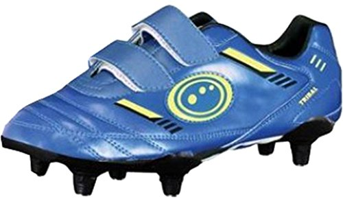 Optimum Tribal Fußball Rugby Stiefel Obermaterial Synthetik PU Touch Verschluss Trainer, blau / grün, 2 Junior