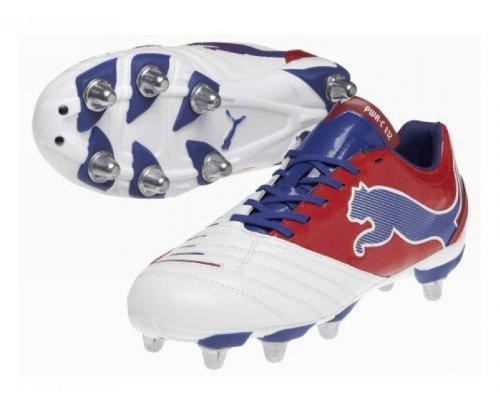 PUMA Powercat 3.12 SG Herren Rugby-Schuhe, Weiß/Blau/Rot, 40.5