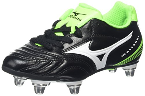 Mizuno Unisex Kinder Waitangi Jr Rugbyschuh, Black (Black/White/Green Gecko), 35 EU ( 3 UK )