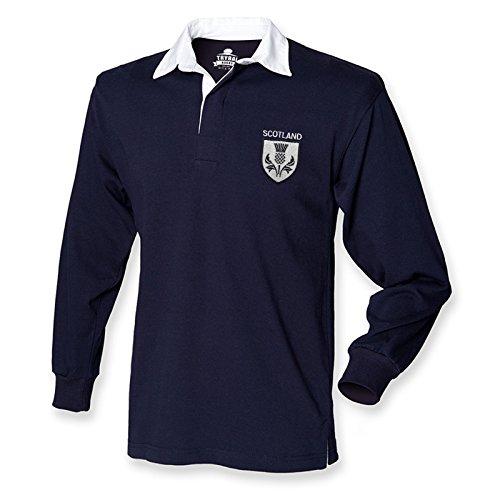 Retro-Trikot Schottland Rugby-Shirt Distel-Logo Herren 6Nations Gr. M, marineblau