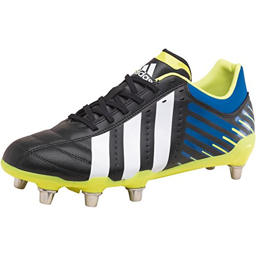 Herren adidas Herren Regulate Kakari SG Rugby Schuhe Schwarz/Weiß/Blau – Schwarz/Weiß/Blau/Gelb – 15 UK 15 EUR 51.3
