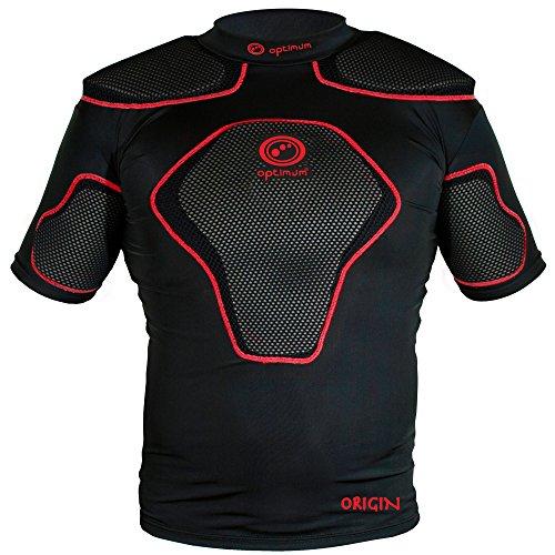 OPTIMUM Origin Rugby-Körper-Schutz-Schulterpolster – schwarz / rot, L