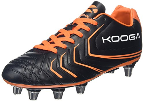 Kooga Herren Warrior 2 Rugbyschuhe, Schwarz (Black/Orange), 42.5 EU