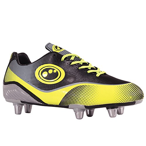 Optimum Atomik Jungen Rugbyschuh, Black (Yellow/Grey), 4 UK